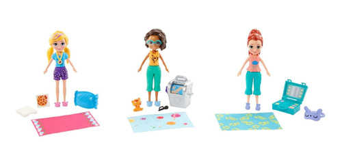 polly pocket, pack de 3 muñecas casa club de polly