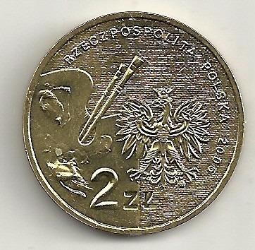 polônia - 2 zlote - 2005 - tadeusz makowski - y#541