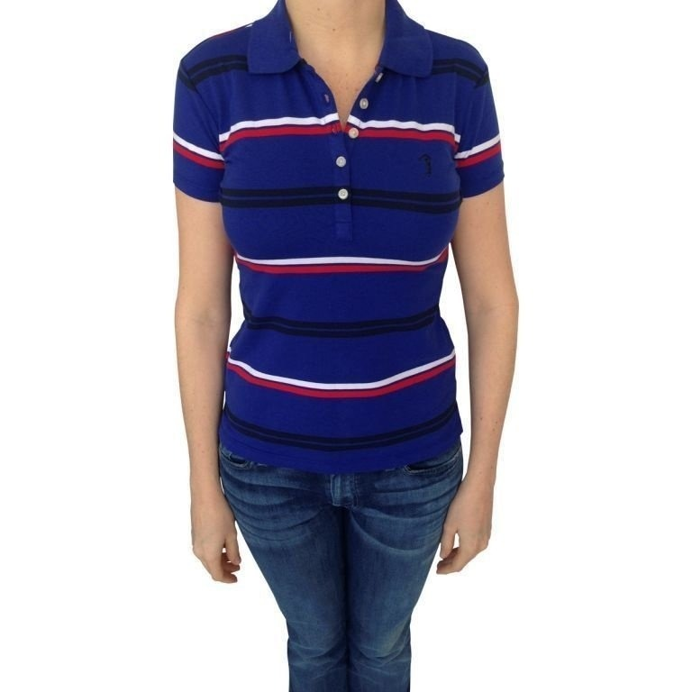 Polo Aleatory Feminina Listrada Azul G Aleatory - R  139 6edc303f96054