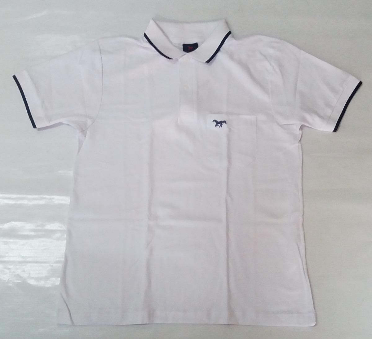 polo camisa masculina branca com azul marinho valmor algodão. Carregando  zoom. a94d46ad7eb76