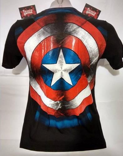 polo capitan america torso estampado con logo en alto reliev