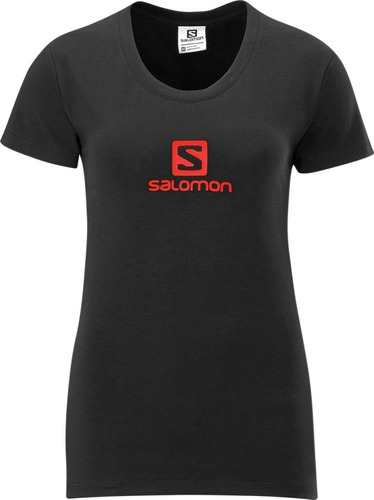 polo femenino salomon -  poly logo tee w negro/rojo - hiking