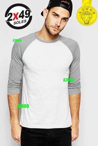 polo manga 3/4 raglan t-shirt rangla baseball larga corta