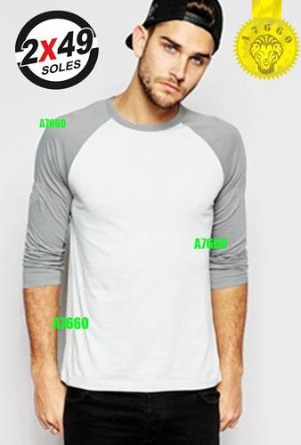 polo manga 3/4 raglan t-shirt rangla larga corta hombre skat