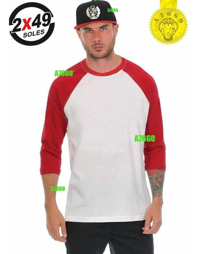 polo manga 3/4 t-shirt ranglan baseball larga corta beisbol