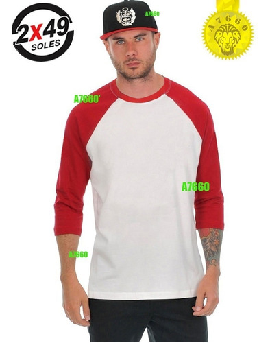 polo manga 3/4 t-shirt ranglan larga corta peru skate baseba