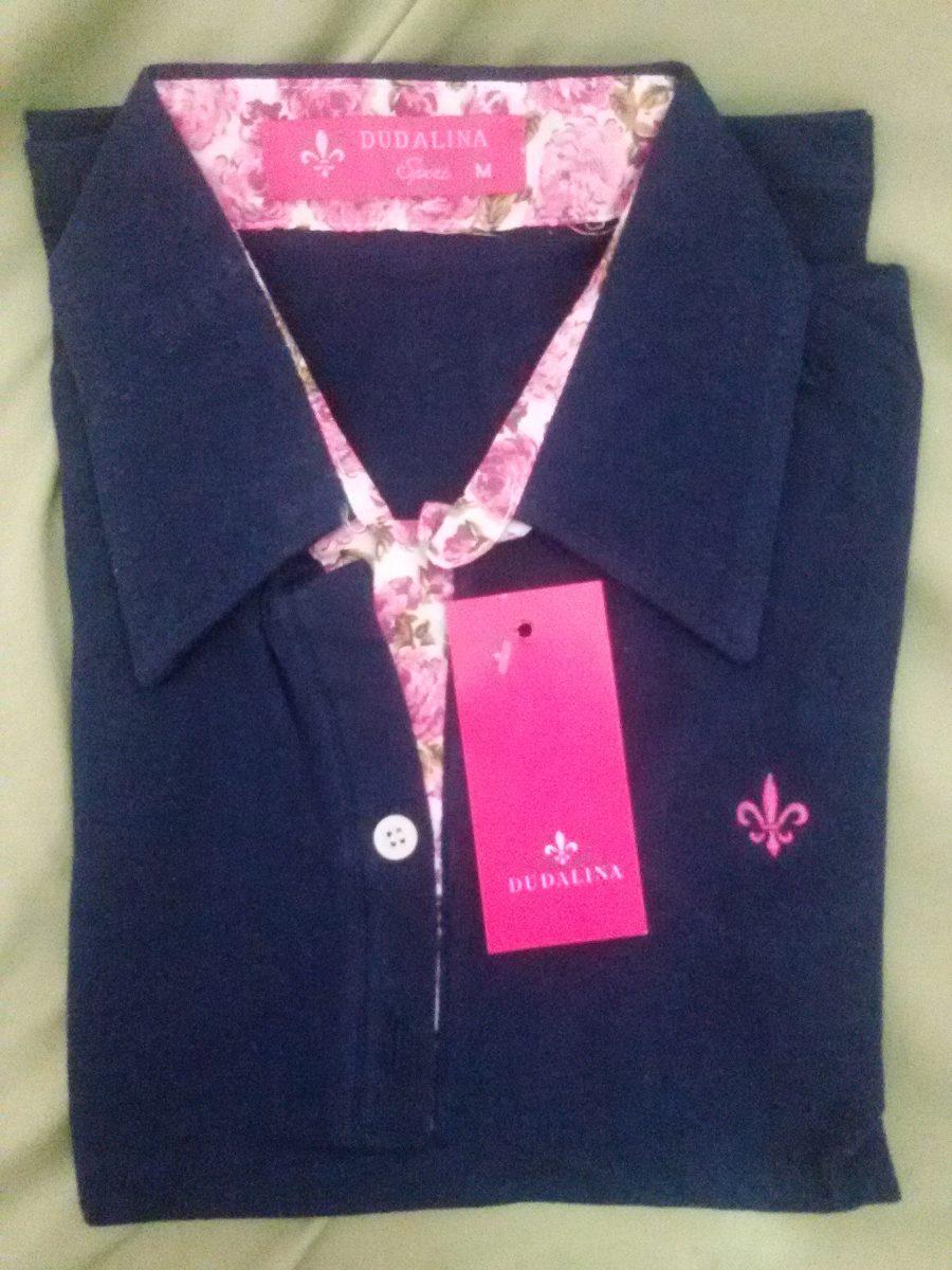 Camisa Dudalina Polo Feminina Manga Curta Baby Look - R  39 87f86661eef83