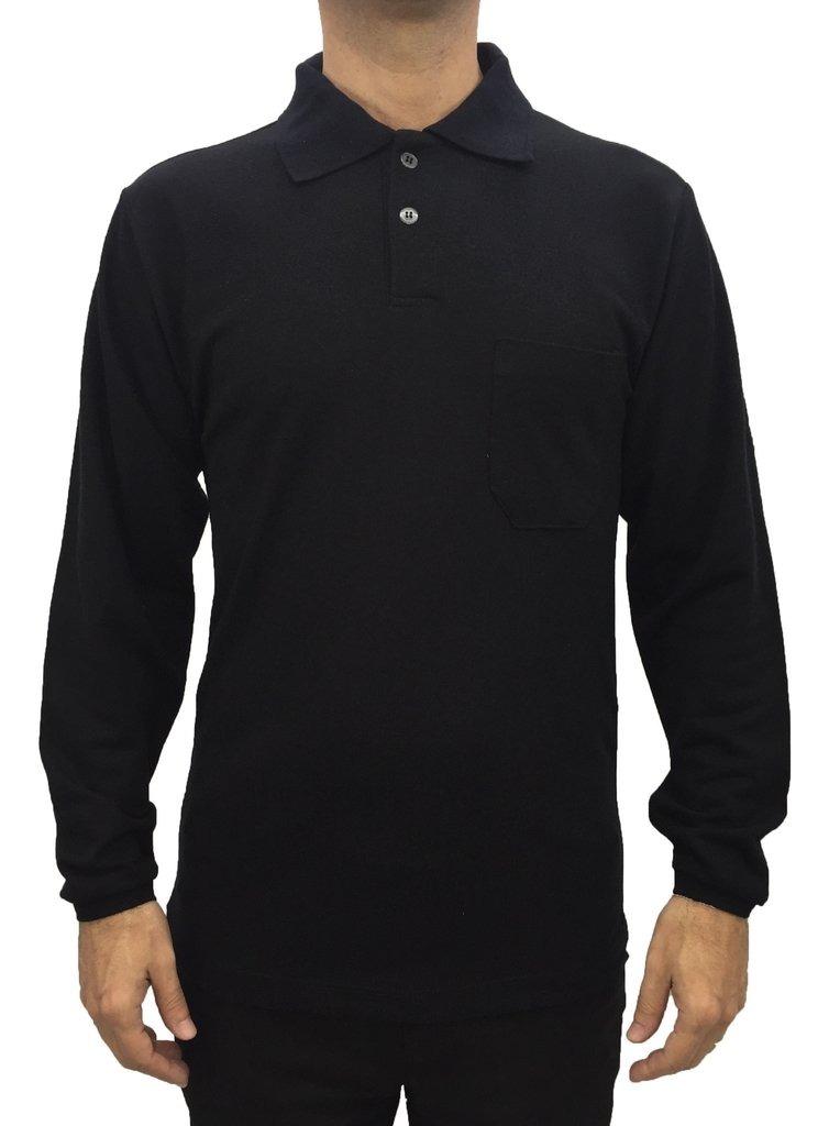 Camisa Masculina Gola Polo Manga Longa Lisa Com Bolso Preta - R  39 ... cf69f8ae639cd