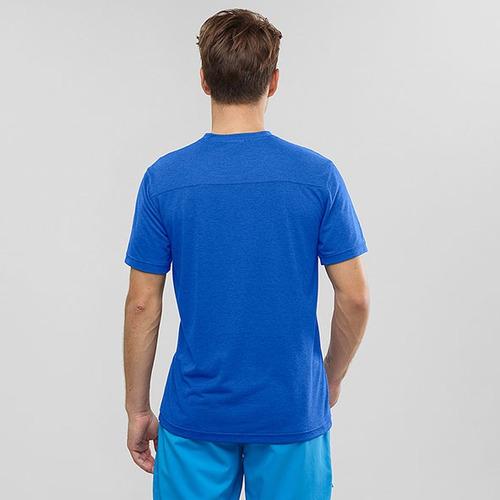 polo masculina salomon - explore ss tee m azul - running
