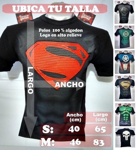 polo modelo superman black con logo en alto relieve (100 % a
