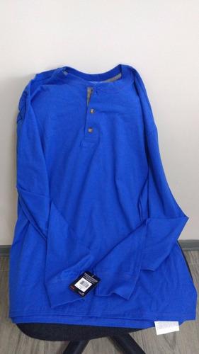 polo para hombre, manga larga, con 3 botones, azulino , l