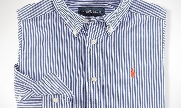 Polo Ralph Lauren Juvenil Camisa Social Listrada Azul!!! - R  169 4b8722b6a56
