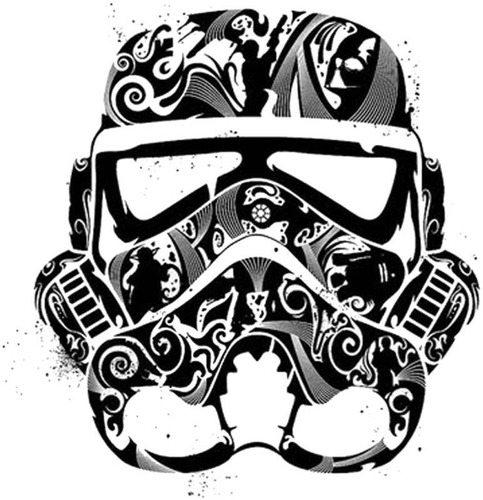polo star wars - modelo face stormtrooper black talla m