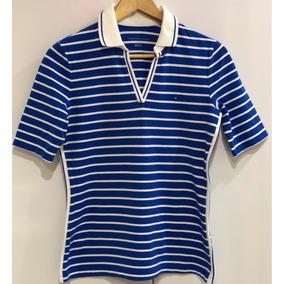 16707c4ada410 Camisa Polo Listrada Gola V Tommy Hilfiger Original Feminina
