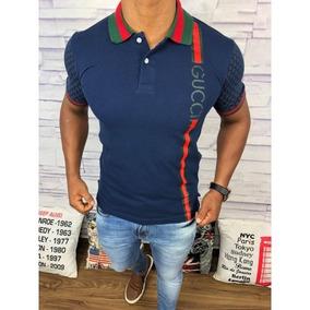 fbbfa89f10ceb Camisas Masculinas Polo Gucci Azul Marinho Frete Gratis
