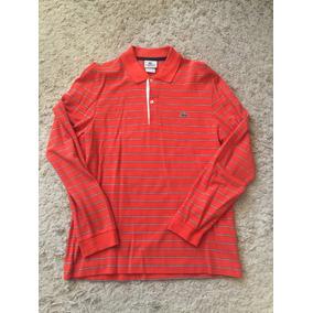 57343e835ed05 Camisa Polo Lacoste Colorida Manga Longa Masculino Camisas ...