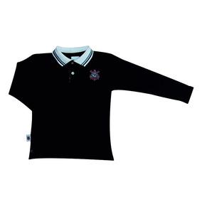 66d5fdc44cd63 Camisa Polo Infantil Corinthians Manga Longa Oficial