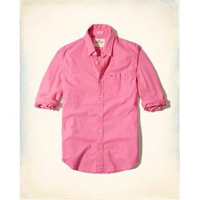 779904c66e6c0 Hollister Camisa De Poplin Lisa Color Rosa Mexicano