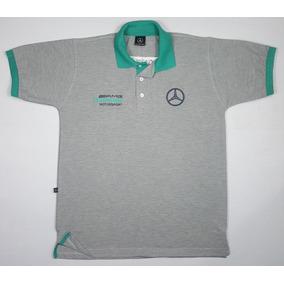 0e42813e5 Camisa Polo Mercedes Benz Amg - Preta - Bordada