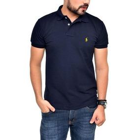 963caa6ee Camisa Polo Ralph Lauren Ct Fit Azul Marinho Bordado Amarelo