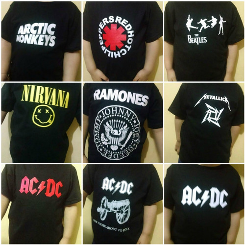 polos-bodys - niños y bebes- logos  bandas de rock