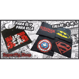 Polos Estampados Batman, Superman, Walking Dead, Stranger