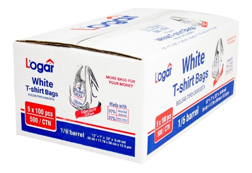 polpusa bolsa tipo camiseta reciclada ad. cal 50 (impresa thank you) blanco 12 +7  x 23  (caja con 5 paq de 100 bolsas)