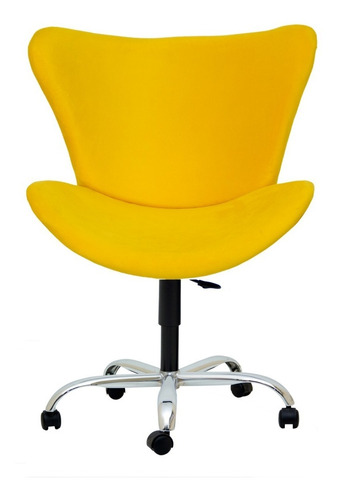 poltrona amarela cadeira mini egg lisa base giratória e regulagem de altura com rodinhas