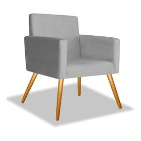 Poltrona Cadeira Beatriz Decorativa Sala Escritório Cinza