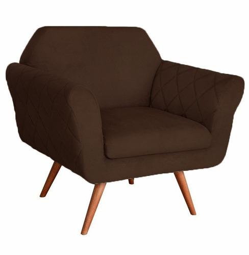 poltrona cadeira decorativa marcela escritório cinza