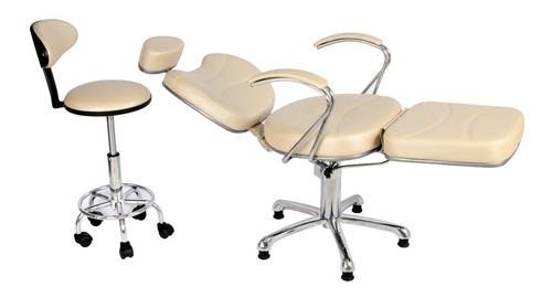 poltrona cadeira reclinável maquiagem kit mocho+lombar salão