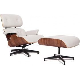 Poltrona Charles Eames Com Puff Couro Natural Direto Fabrica