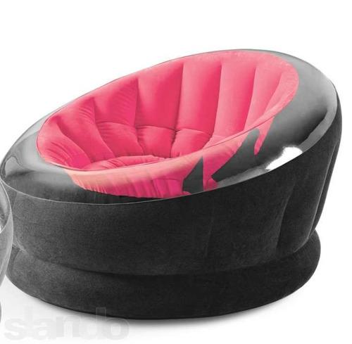 poltrona inflável intex empire rosa aveludada sofá - puff