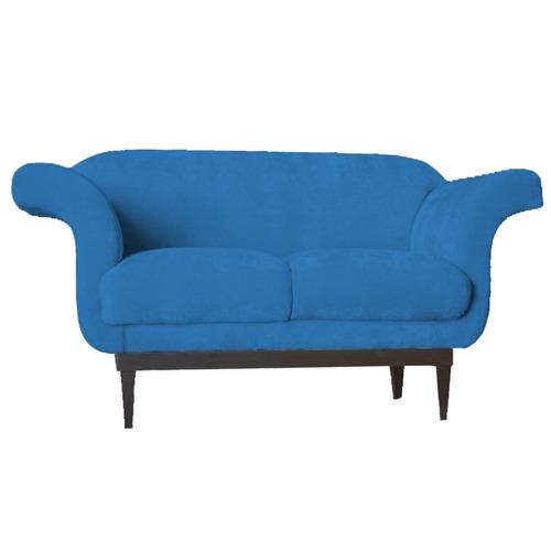 poltrona namoradeira com base colonial tróia suede azul