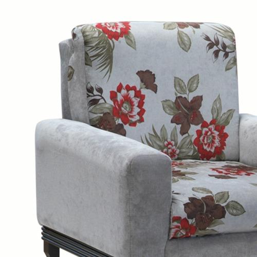 poltrona para sala c/ base colonial aline cinza/floral cinza