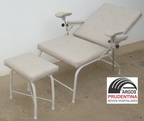 poltrona reclinável coleta sangue c/ otomono suporte de soro