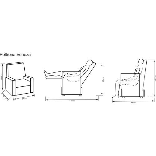 poltrona reclinável veneza delare móveis marrom gjwt