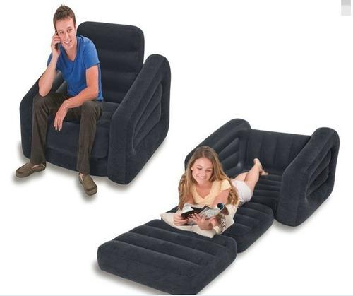 poltrona sofá cama inflável intex aveludado 100kg 2x1