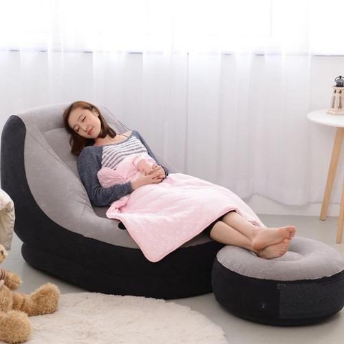 poltrona - sofá inflável com puff e porta copos intex