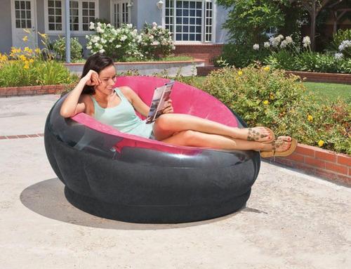 poltrona, sofá inflável intex empire rosa aveludada puff