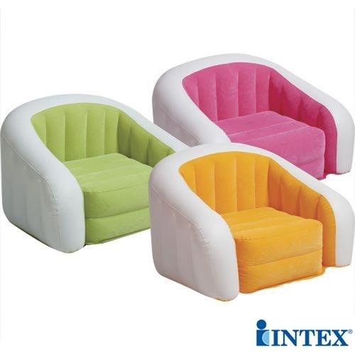 poltrona sofá puff inflável laranja rosa verde intex 68571