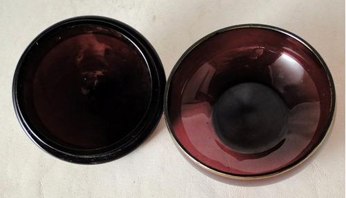 polvera / alhajero francés vidrio violeta virola dorada