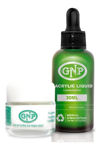 polvo acrilico 20gr transp y liquido 30ml gnp