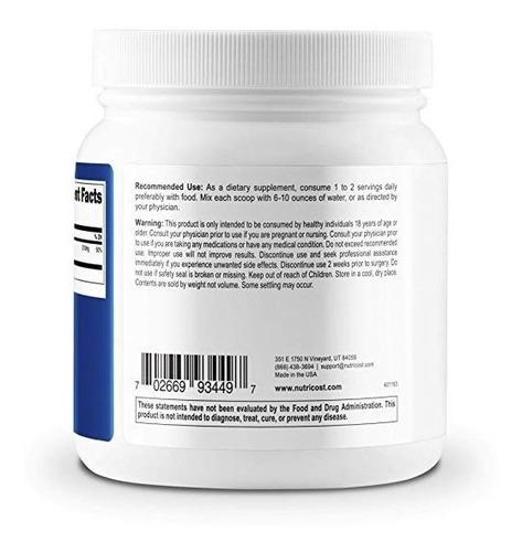 polvo de citrato de magnesio nutricost 500 gr sin sabor