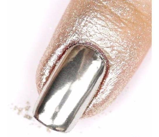 Polvo Efecto Espejo Uñas Acrílicas Gelish Plata Rosedorado