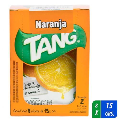 polvo para preparar bebida tang naranja 8 sobres 15 gr c/u