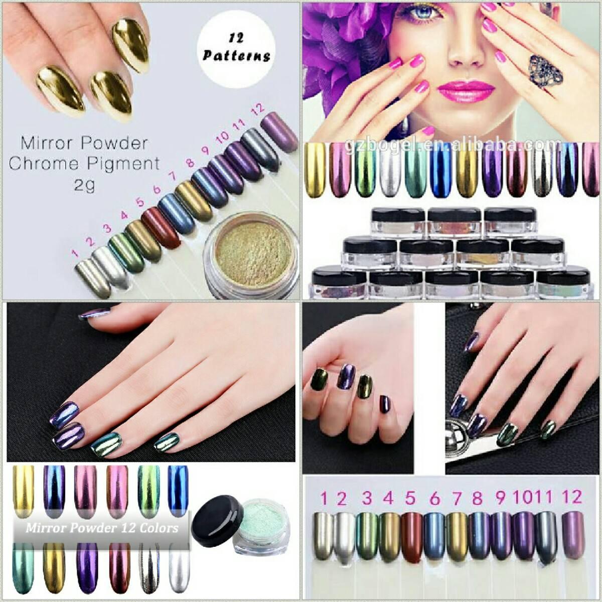 Polvo Uñas Efecto Espejo 12 Colores 2g Gelish - $ 280.00 en Mercado ...
