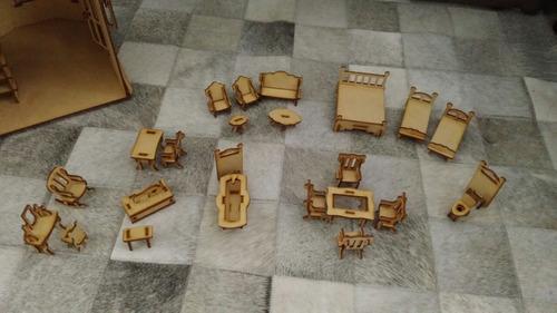 poly casinha mdf - modelo unico com 24 moveis