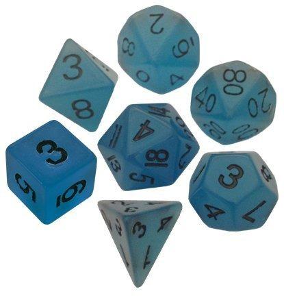 polyhedral 7 die set resin dice brillo azul con numeros negr