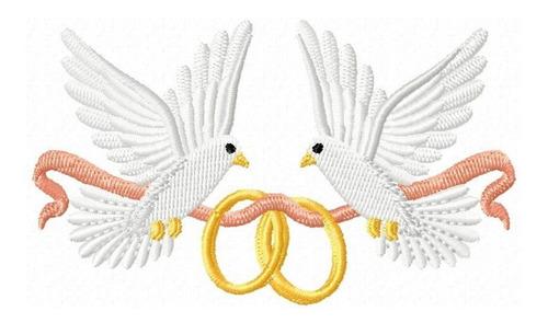 pombinhos casamento 001 - coleção de matriz de bordado